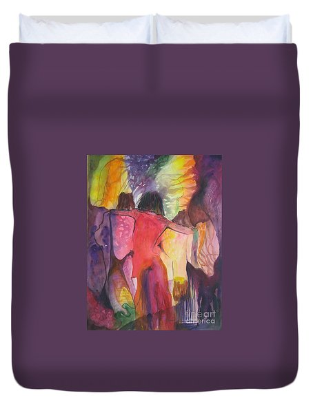 Duvet Cover featuring the painting Passage by Diana Bursztein