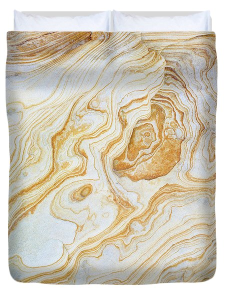 Pattern Of Layers On Sandstone Rock Duvet Cover