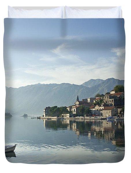 Perast Village In Montenegro Duvet Cover