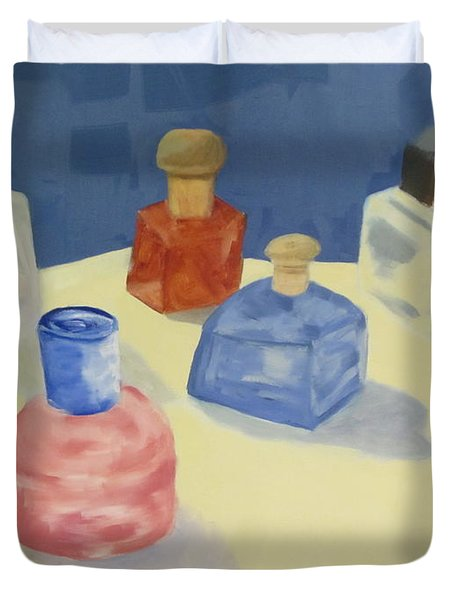 Duvet Cover featuring the painting Perfume Bottles by Patricia Cleasby