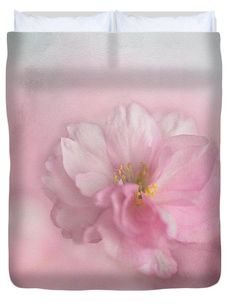 Duvet Cover featuring the photograph Pink Blossom by Annie Snel