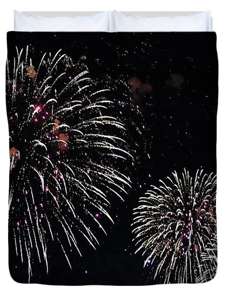 Duvet Cover featuring the photograph Pink Fireworks by Lilliana Mendez