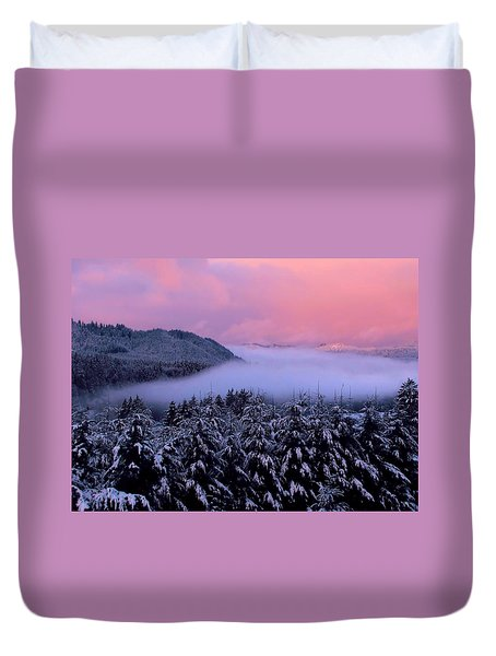 Duvet Cover featuring the photograph Pink Sunrise With Foggy River by Katie Wing Vigil