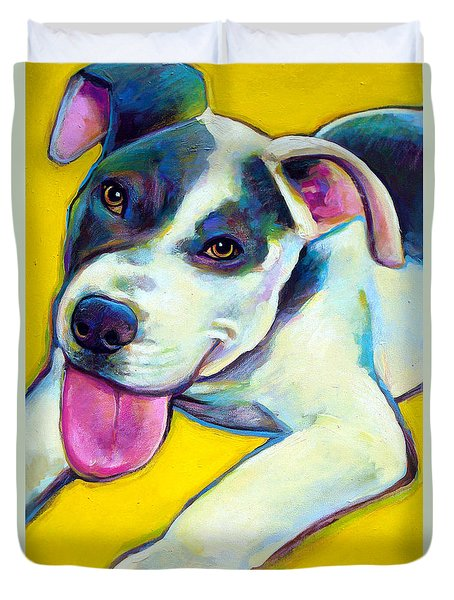 Duvet Cover featuring the painting Pit Bull Puppy by Robert Phelps