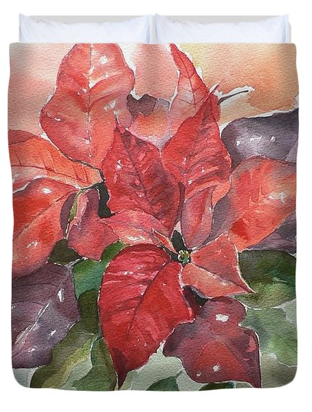 Poinsettias Duvet Cover