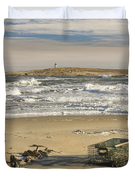 Popham Beach On The Maine Coast Duvet Cover