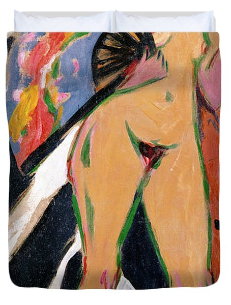 Portrait Of A Woman Duvet Cover by Ernst Ludwig Kirchner