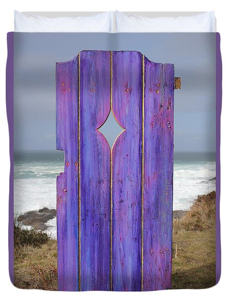 Purple Gateway To The Sea Duvet Cover by Asha Carolyn Young
