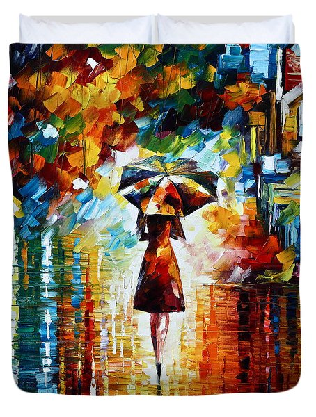 Rain Princess - Palette Knife Landscape Oil Painting On Canvas By Leonid Afremov Duvet Cover