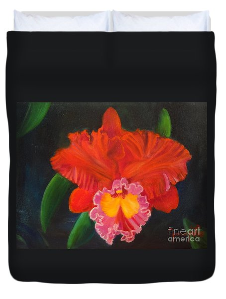 Duvet Cover featuring the painting Red Orchid by Jenny Lee