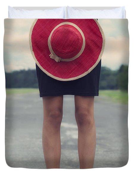 Red Sun Hat Duvet Cover by Joana Kruse