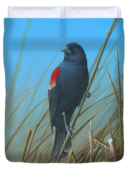 Red-winged Black Bird Duvet Cover by Mike Brown