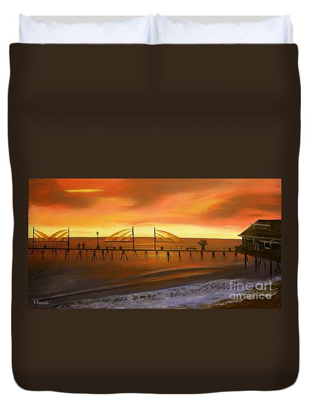 Redondo Beach Pier At Sunset Duvet Cover by Bev Conover