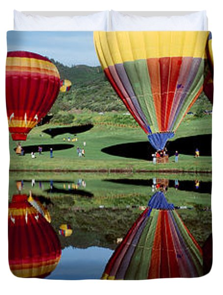 Reflection Of Hot Air Balloons Duvet Cover