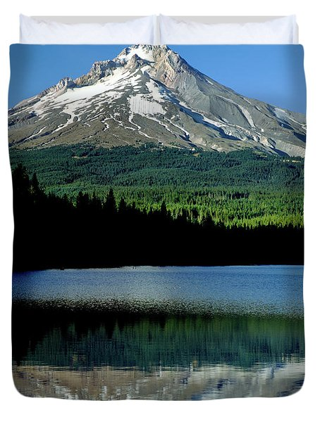 Reflection Of Mountain Range In A Lake Duvet Cover