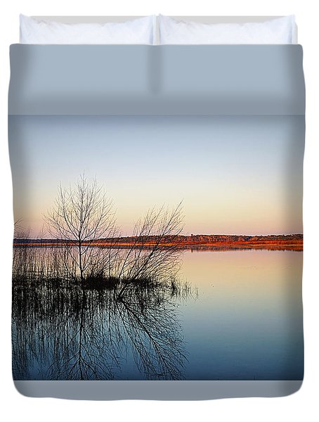 Reflections On Lake Jackson Tallahassee Duvet Cover by Paul  Wilford