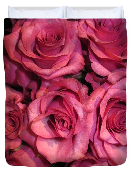 Rosebouquet In Pink Duvet Cover