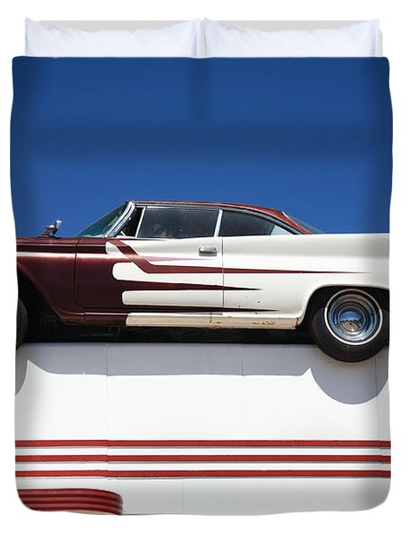 Route 66 - Desoto's Salon Duvet Cover by Frank Romeo