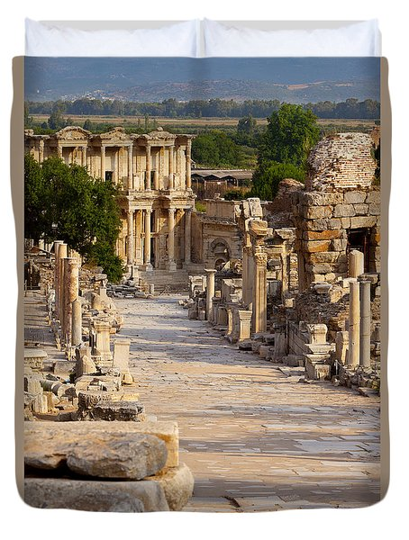 Duvet Cover featuring the photograph Ruins Of Ephesus by Brian Jannsen