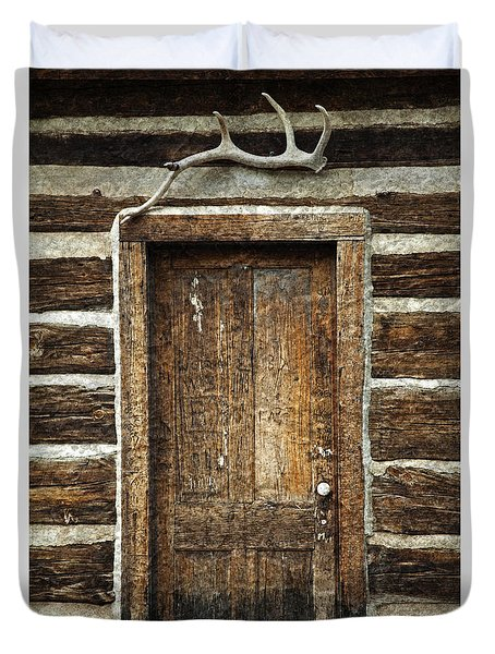Rustic Cabin Door Duvet Cover by John Stephens