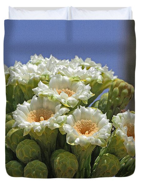Saguaro Flower And Buds  Duvet Cover