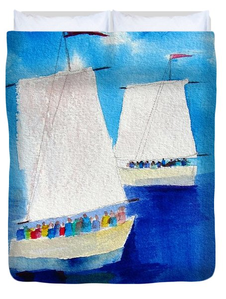 2 Sailboats Duvet Cover