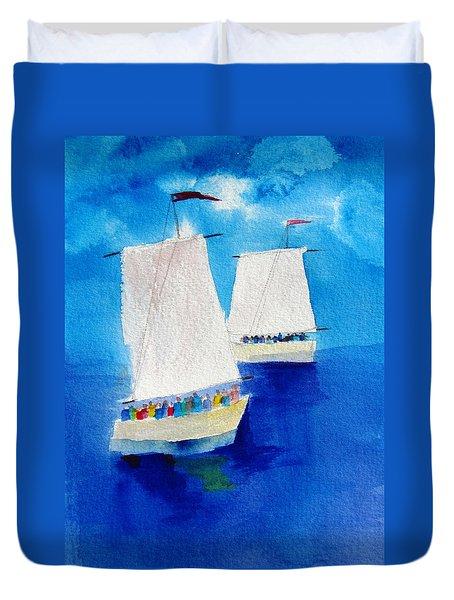 2 Sailboats Duvet Cover by Carlin Blahnik