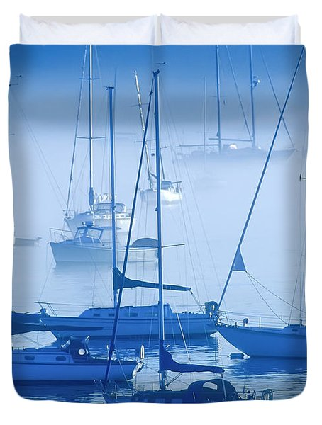 Sailboats In The Fog - Maine Duvet Cover