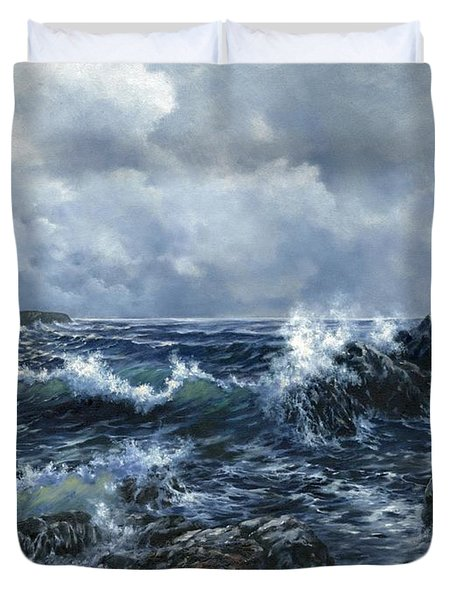 Duvet Cover featuring the painting Sailor's Light by Lynne Wright