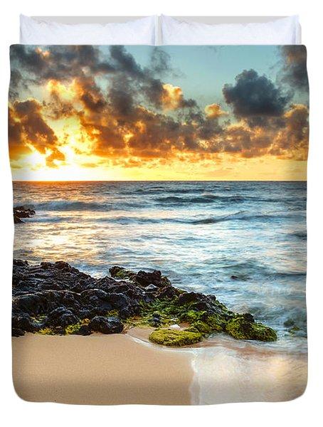 Sandy Beach Sunrise 7 Duvet Cover by Leigh Anne Meeks