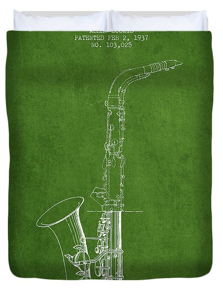Saxophone Patent Drawing From 1937 - Green Duvet Cover by Aged Pixel