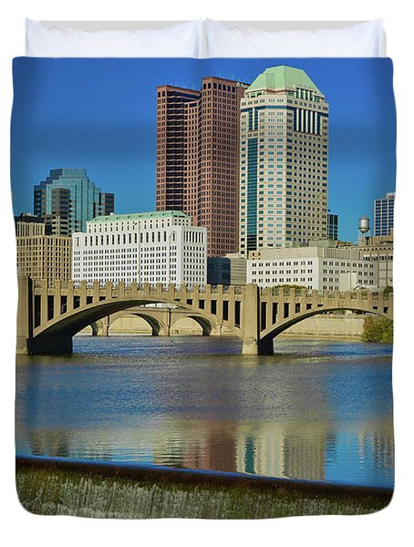 Scioto River With Waterfall Duvet Cover