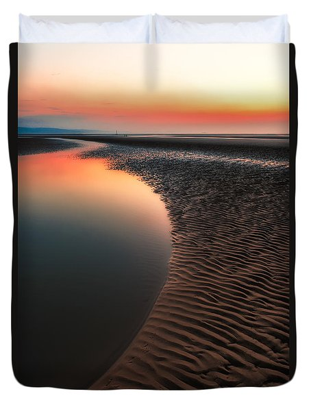 Duvet Cover featuring the photograph Seascape Sunset by Adrian Evans