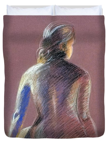 Seated Female Model Duvet Cover