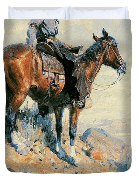 Sentinel Of The Plains Duvet Cover by William Herbert Dunton