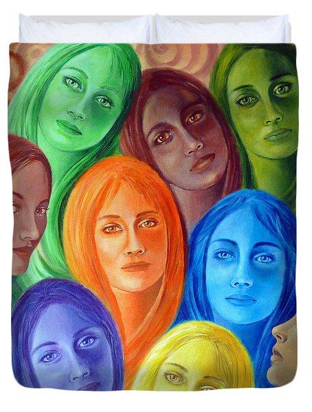 Serene Sisters Duvet Cover by Sylvia Kula