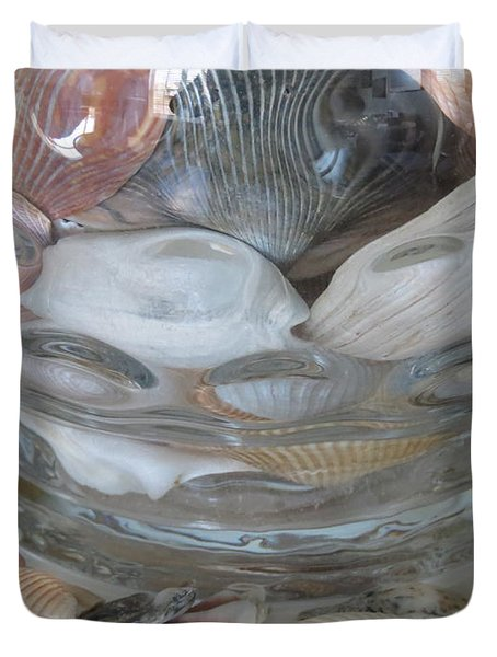 Shells In Bubble Bowl 2 Duvet Cover by Ellen Meakin