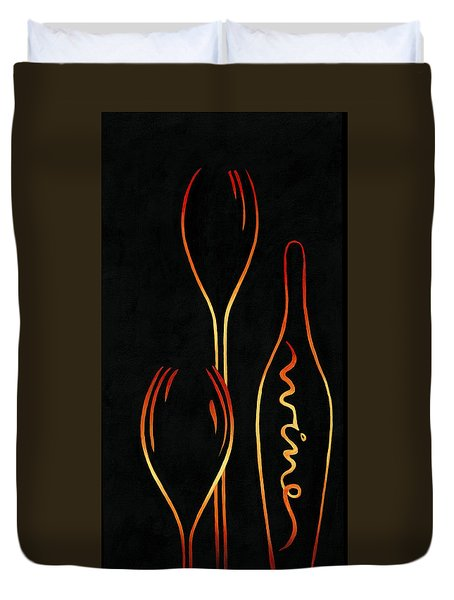 Duvet Cover featuring the painting Simply Wine by Sandi Whetzel