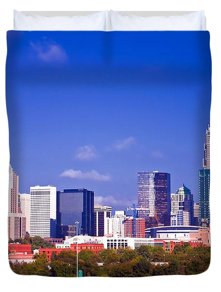 Skyline Of Uptown Charlotte North Carolina At Night Duvet Cover by Alex Grichenko