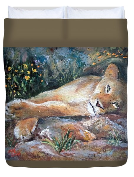 Duvet Cover featuring the painting Sleep Lion by Jieming Wang