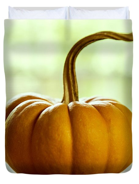 Small Orange Pumpkin Duvet Cover by Iris Richardson
