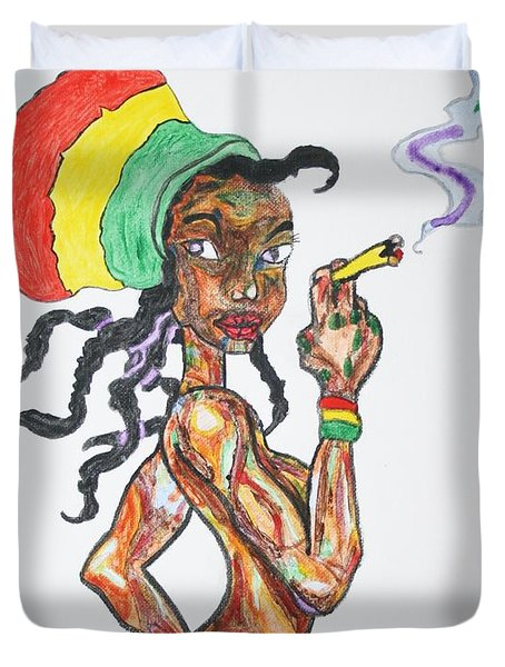 Duvet Cover featuring the painting Smoking Rasta Girl by Stormm Bradshaw