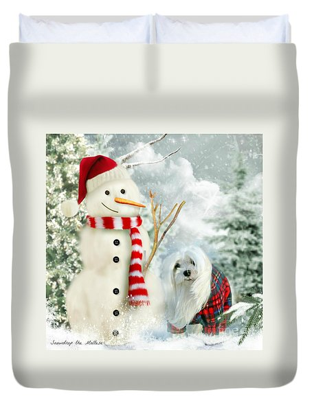 Snowdrop And The Snowman Duvet Cover by Morag Bates