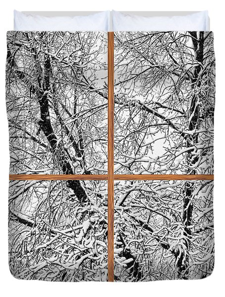 Snowy Tree Branches Barn Wood Picture Window Frame View Duvet Cover by James BO  Insogna