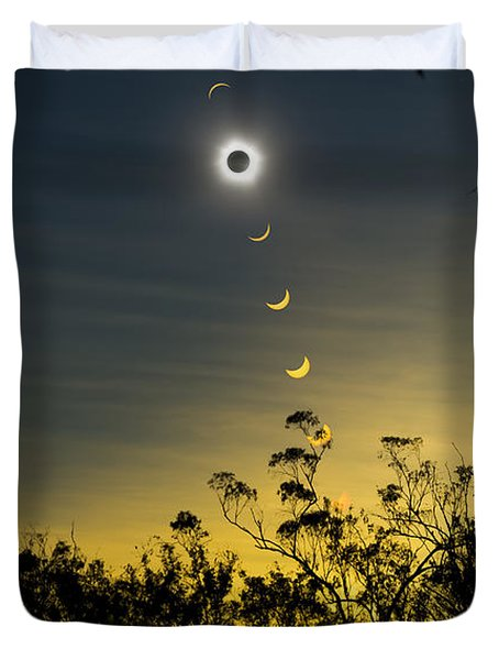 Solar Eclipse Composite, Queensland Duvet Cover by Philip Hart