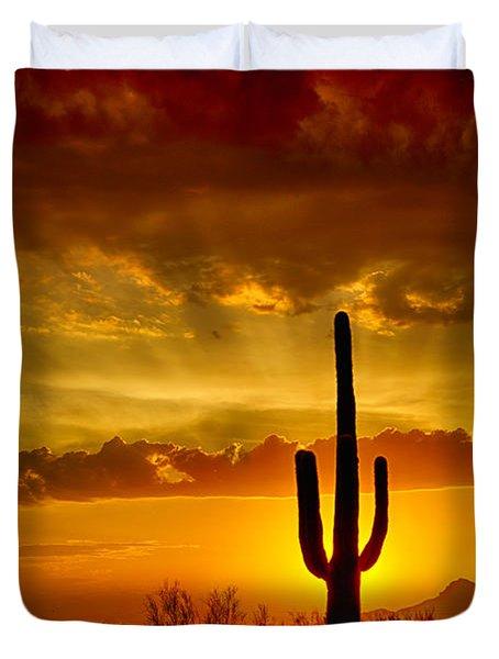 Southwestern Style Sunset  Duvet Cover by Saija  Lehtonen