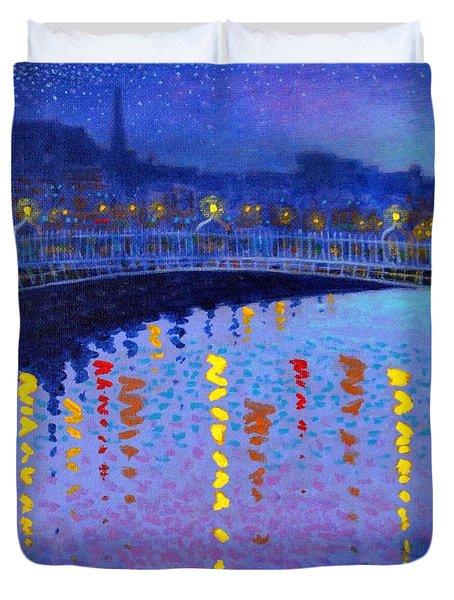 Starry Night In Dublin Duvet Cover by John  Nolan