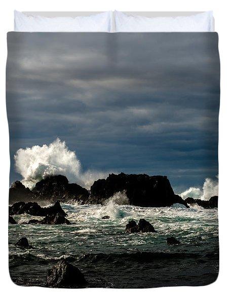 Stormy Seas And Spray Under Dark Skies  Duvet Cover