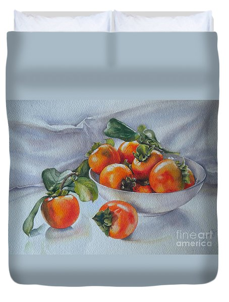 Summer Harvest  1 Persimmon Diospyros Duvet Cover