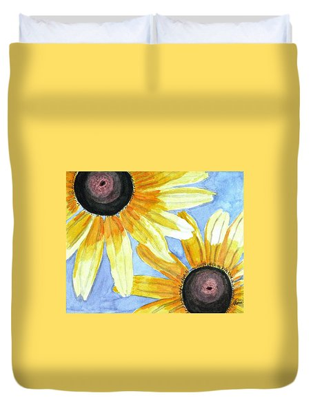Duvet Cover featuring the painting Summer Susans by Angela Davies
